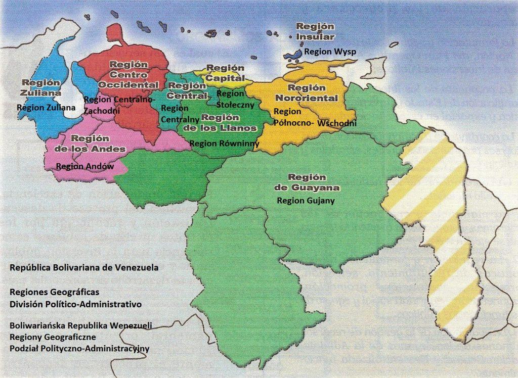 Mapa, división por regiones (polaco)