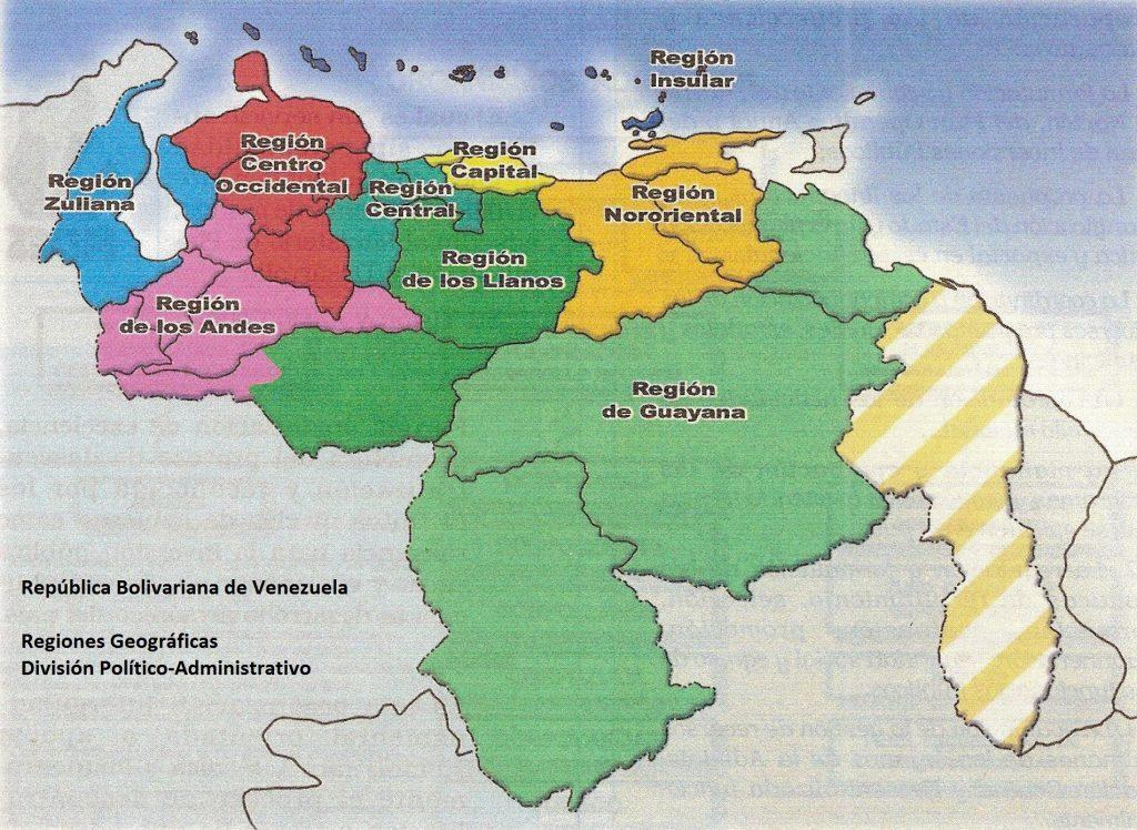 mapa, division por regiones (espanol)